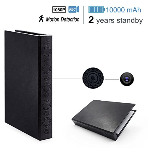 Poetele 1080p Full Hd Very Hidden Book Camera for Home Security with Motion Detective,Night Vision,10000mAH Battery, up to 2 Years Standby Power