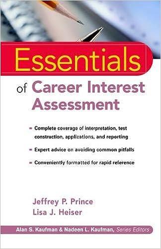 Essentials of career interest assessment jeffrey p prince lisa essentials of career interest assessment jeffrey p prince lisa j heiser 9780471353652 amazon books fandeluxe Gallery