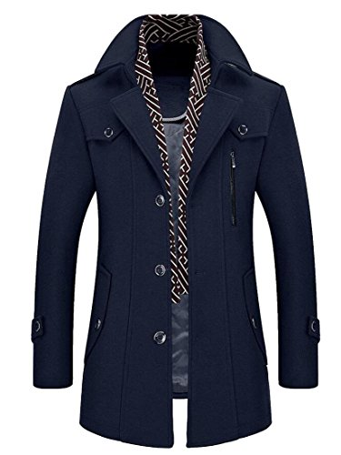 Gocgt Menâ€s Wool Blend Trench Coat Australian Merino Coat Single BreastedWinter Jacket 2 M Mena Coat