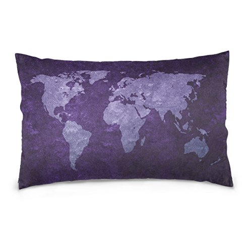 ALAZA Purple World Map Cotton Standard Size Pillowcase 26 X 20 Inches Twin Sides, Globe World Map Pillow Case Sham Cover Protector Decorative for Couch Ded