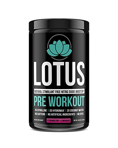 Lotus All Natural Pre Workout Supplement for Men and Women, Natural Flavors and Sweeteners, Vegan, No Caffeine, Hydrate, Pump Enhancer, Improve Performance and Endurance - 30 Servings