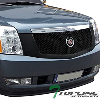 Topline Autopart Matte Black Mesh Front Hood Bumper Grill Grille ABS For 07-14 Cadillac Escalade