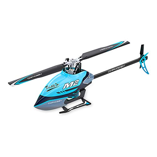 OMPHOBBY M2 Remote Control Helicopter Dual-brushless Motor RC Helicopter for Adults Direct-Drive 3D Helicopter-BNF RC Helicopter (Miami Blue)
