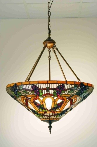 24 Inch W Jeweled Grape Inverted Pendant Ceiling Fixture