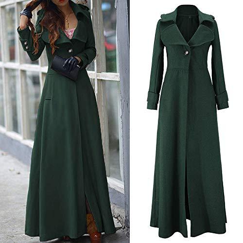 Orangeskycn Womens Lapel Wool Blend Slim Ankle-Length Coat Trench Winter Fall Warm Coat Overcoat