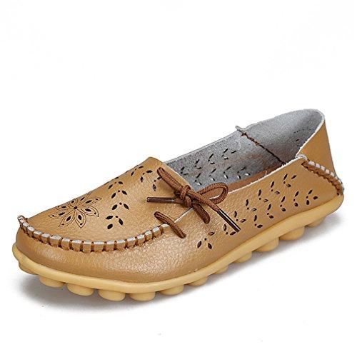 Khaki cuero Zapatos Mocasines conducción Zapatos madre de Mocasines genuino 3 femeninos de damas On de de recortes de Slip pisos 5 mujer de Bridfa mujer calzado mujer dIq8SIw