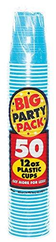 Big Party Pack Caribbean Blue Plastic Cups, 12 Oz., 50 Ct.