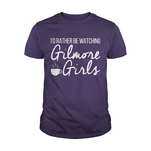 Men's I Would Rather be Watching Gilmore Girls T-Shirt (L, Purple) -