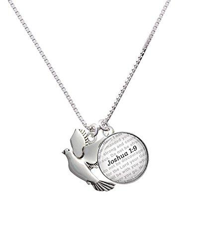Silvertone Dove - Bible Verse Joshua 1:9 Glass Dome Necklace, - Glass Necklace Dove