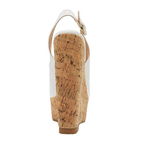 Compensé Sandales Peep Talon Toe Robe Mariage Blanc Boucle Zevc Les Femmes Élingues Eks De gvUnFqAIxw