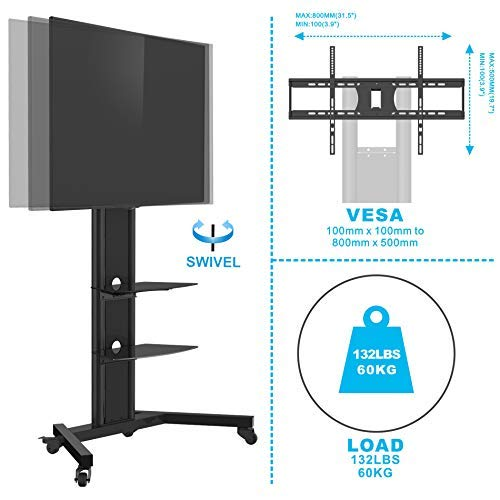 Fenge Fitueyes Carts Rolling TV Stand for 42 Inch LED Screen with Glass Shelf Locking Caster Wheels.