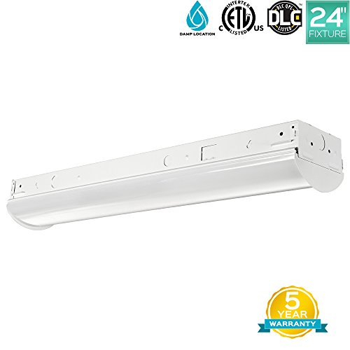 Rated Fluorescent Ceiling Fixture (Luxrite 2FT Linear LED Shop Light Fixture, 17W, 3000K (Soft White), 2100 Lumens, Damp Rated, LED Strip Fixture, 120-277V, ETL Listed, DLC Listed, 1-Piece)