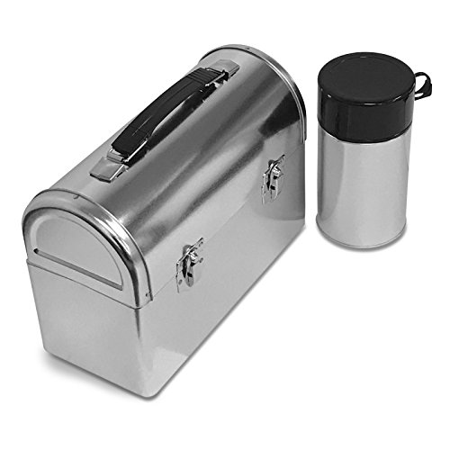 Plain Metal Dome Lunch Box and Thermos Bottle - Silver Color Dome Lunch Box