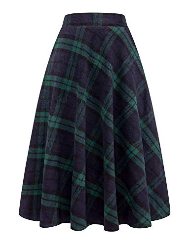 Tartan Wool Skirt - IDEALSANXUN Womens High Waist Winter Warm Long Maxi Skirt Flare A-line Plaid Skirts (Medium, Long Green)