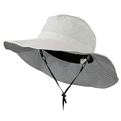 Big Size Talson UV Bucket Hat with Adjustable Chin Cord - White 2XL