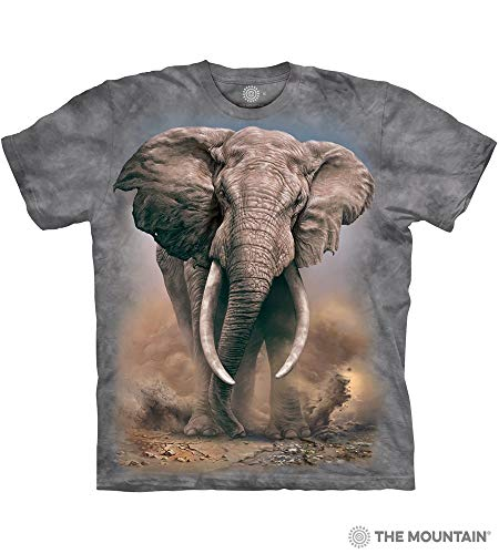 (The Mountain African Elephant Adult T-Shirt, Grey, XL)