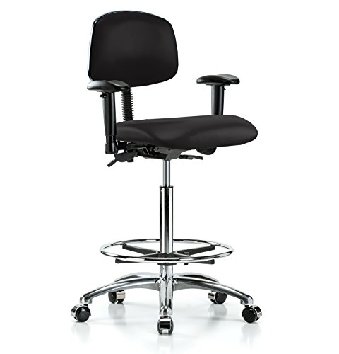 PERCH Chrome Rolling Multi Task Swivel Chair with Foot Ring for Hardwood or Tile Floors, Counter Height, Black Vinyl
