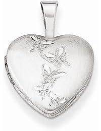 Solid 925 Sterling Silver Butterflies 12mm Love Heart Locket Opens Engravable Pendant (2mm)12mm Width)
