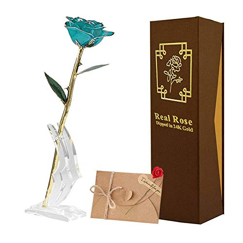 TECHSHARE 24K Gold Rose, for Her/Wife/Girlfriend/Mother Birthday (Light Blue Rose with Stand)