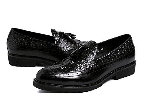 Hombres Casual Cuero Zapatos Ponerse Vestir Boda Formal Negocio Negro Oxford Borla para Hombres Trabajo tamaño 38-44 black
