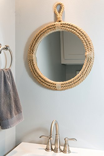stonebriar small round wrapped rope mirror with hanging loop vintage nautical d 821614086385 ebay. Black Bedroom Furniture Sets. Home Design Ideas