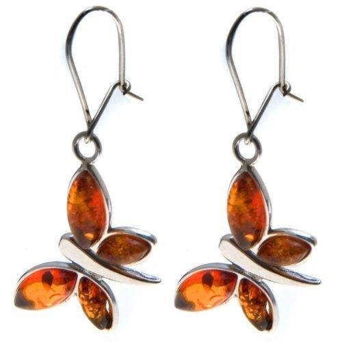 Honey Amber Sterling Silver Butterfly Cute Earrings