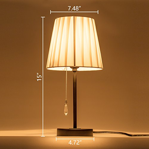 Donglaimei Fabric Shade Table Lamp with Pull Chain Switch and Metal Lamp Base, Simple Style Night Stand Lamp and Modern Bed Light for Living Room, Bedroom, Hotel
