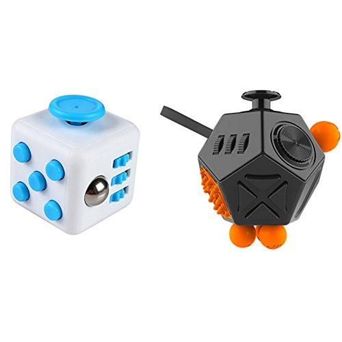 Xinzistar 2 Pcs Fidget Dice II Dice I Stress Release Office Toys Set for Children Adult Black 06