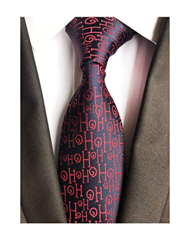 Men's Navy Blue Amusing Red HO Silk Tie Ugly Sweater Holiday Funny Dress Necktie -