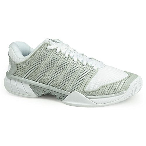 K-Swiss Women`s Hypercourt Express Tennis Shoes White and Silver (8.5 -