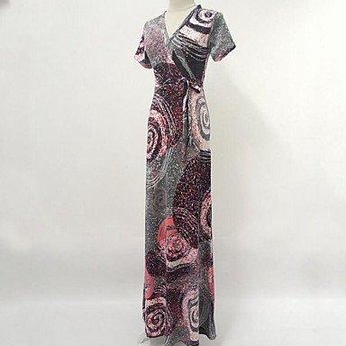 PU&PU Robe Aux femmes Swing Bohème / Chic de Rue,Imprimé Col en V Maxi Coton , purple , xl