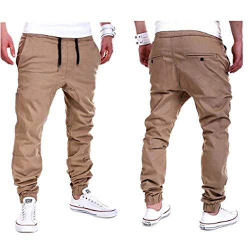 Para Hombres Bolsillos Khaki Ropa Saoye Pantalones Chándal Fashion Deportivos De Laterales 4qfxE