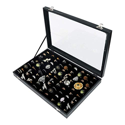100 Slots Ring Storage Display Box with Transparent Lid ~ Ring Holder Showcase for Store Display, Jewelry Show & Home ~ Jewelry Tray Organizer (Black)