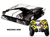 MightySticker® PS4 Designer Skin Game Console p 2 Controller Decal Vinyl Protective Covers Stickers f Sony PlayStation 4 - Hero Injustice Gods Among Us League Batman vs Superman Dawn Justice Logo Sign