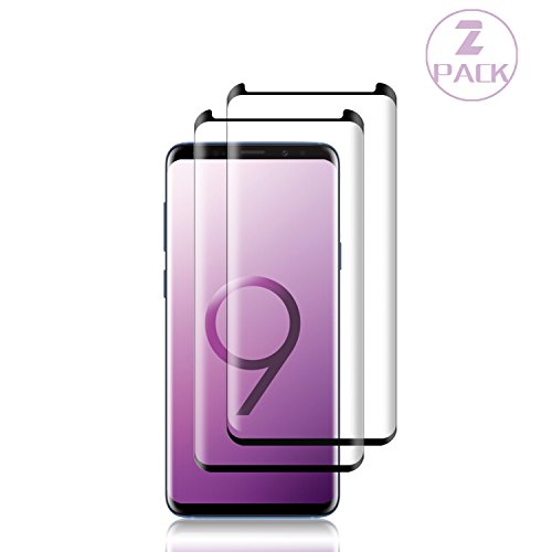 [2-Pack] Galaxy S9 Plus Black Screen Protector,Loopilops Tempered Glass Screen Protector with [9H Hardness][Easy Bubble-Free Installation][Anti-Scratch][Anti-Fingerprint] for Samsung Galaxy S9 Plus.