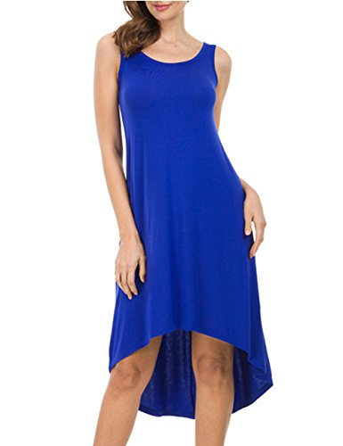 CUBEA Women Sleeveless V-Neck Casual Swing A Line Tank Dress (Medium, 6097-Blue)
