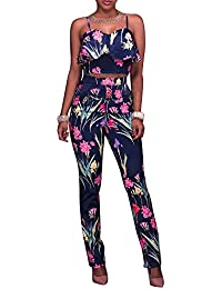 Women's Floral Print Sleeveless Strap Top Casual Bodycon...