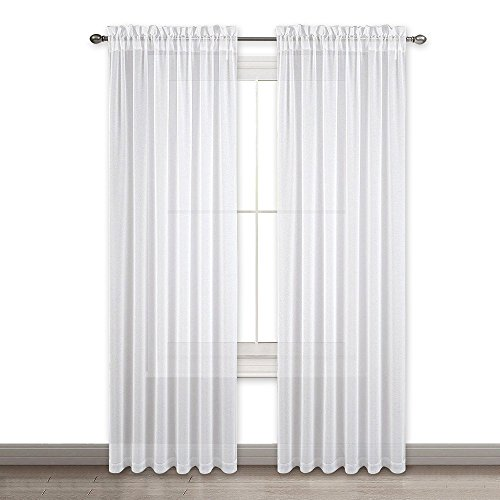 NICETOWN Sheer Panels 95 Inches Long - Window Treatment Faux Linen Voile Sheer Curtains for Patio/Villa/Parlor/Sliding Door (White, Set of 2, 55 Wide x 95 inch Long) - 2 Door Linen