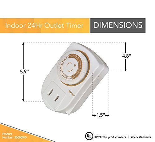 Woods 50006WD Indoor 24-Hour Mechanical Outlet Timer, Daily Settings