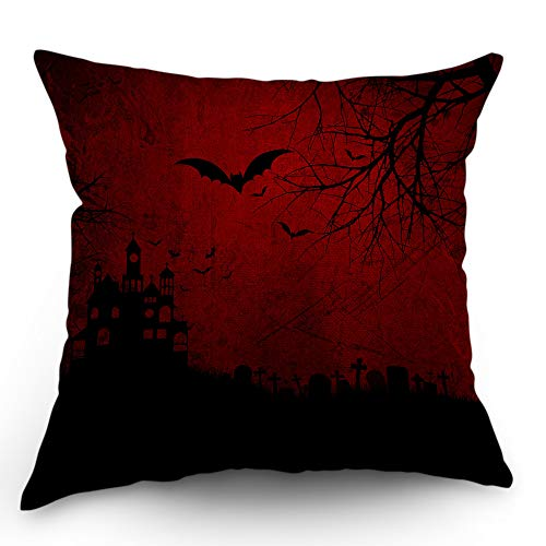 Moslion Skull Pillow Case Halloween Bats Spider Ghost Grave Stone Castle Tree Throw Pillow Cover 18x18 Inch Cotton Linen Decorative Square Cushion for Sofa Bedroom Red Black]()