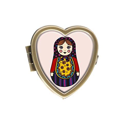 Luxcase Funny Russian dolls Custom Fashion Heart Bronze Pill Box Pocket Medical box Decorative Box Or Wallet