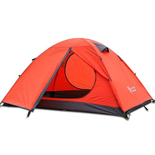 Hillman Tents Outdoor Recreationfor Stakes Double Layer 2 Person Waterproof Dome Backpacking Tent Aluminum Rod Lightweight for Camping Hiking Travel Climbing(Orange-2 Person)