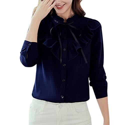 Women Ruffles Chiffon Blouse Work Office Long Sleeve Bow Tie Tee Shirt Top Navy