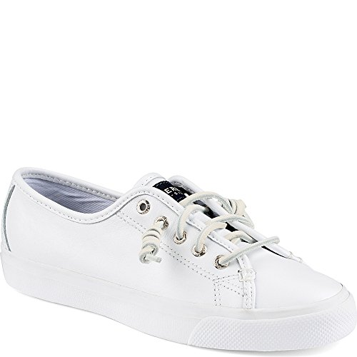 Sperry Top-Sider Women's Seacoast Fashion Sneaker, White Leather, 8.5 M - Sneakers Leather Canvas
