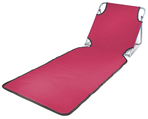 Ideas In Life Portable Beach Mat Lounge Folding Chair – Folds Flat For Travel Adjustable Reclining Back – Outdoor Lightweight For Kids And Adults (Red) by Ideas In Life