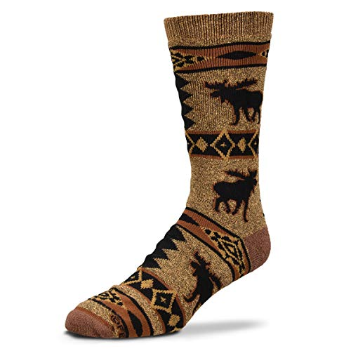 - For Bare Feet Men's FBF Originals Wildlife Novelty Socks, Moose Blanket Motif, Large