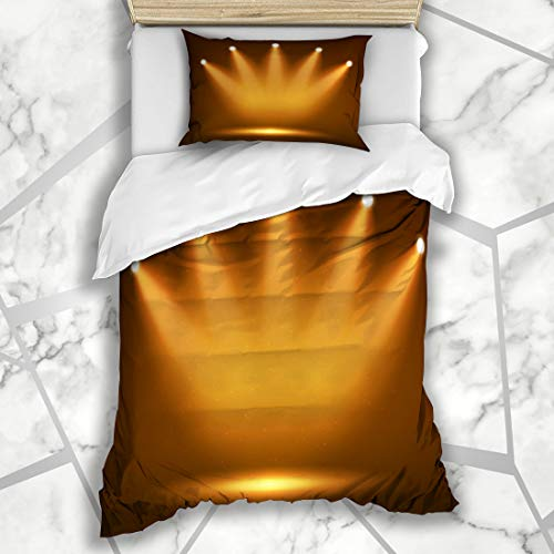 Ahawoso Duvet Cover Sets Twin 68X86 Clubbing Yellow Light Spotlight On Stage Your Abstract Orange Fame Hall Celebration Dark Reveal Microfiber Bedding with 1 Pillow Shams