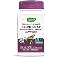 Nature's Way Premium Extract Standardized Olive Leaf 20% Oleuropein, 250 mg per serving, 60 VCaps