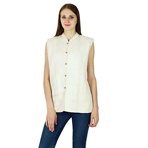 Imprimer Blazer Blanc Bloc Chaudes Manteau Hiver Main Matelassé Seashore Veste Femmes Coton Réversible wUHxzIq1