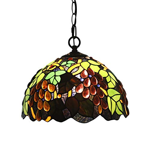 - Litaotao 12 Inch Tiffany Style Grape Pendant Lamp Brown Crystal Beads Stained Glass Shade Chandelier for Bedroom Restaurant Study,E27,110~240V
